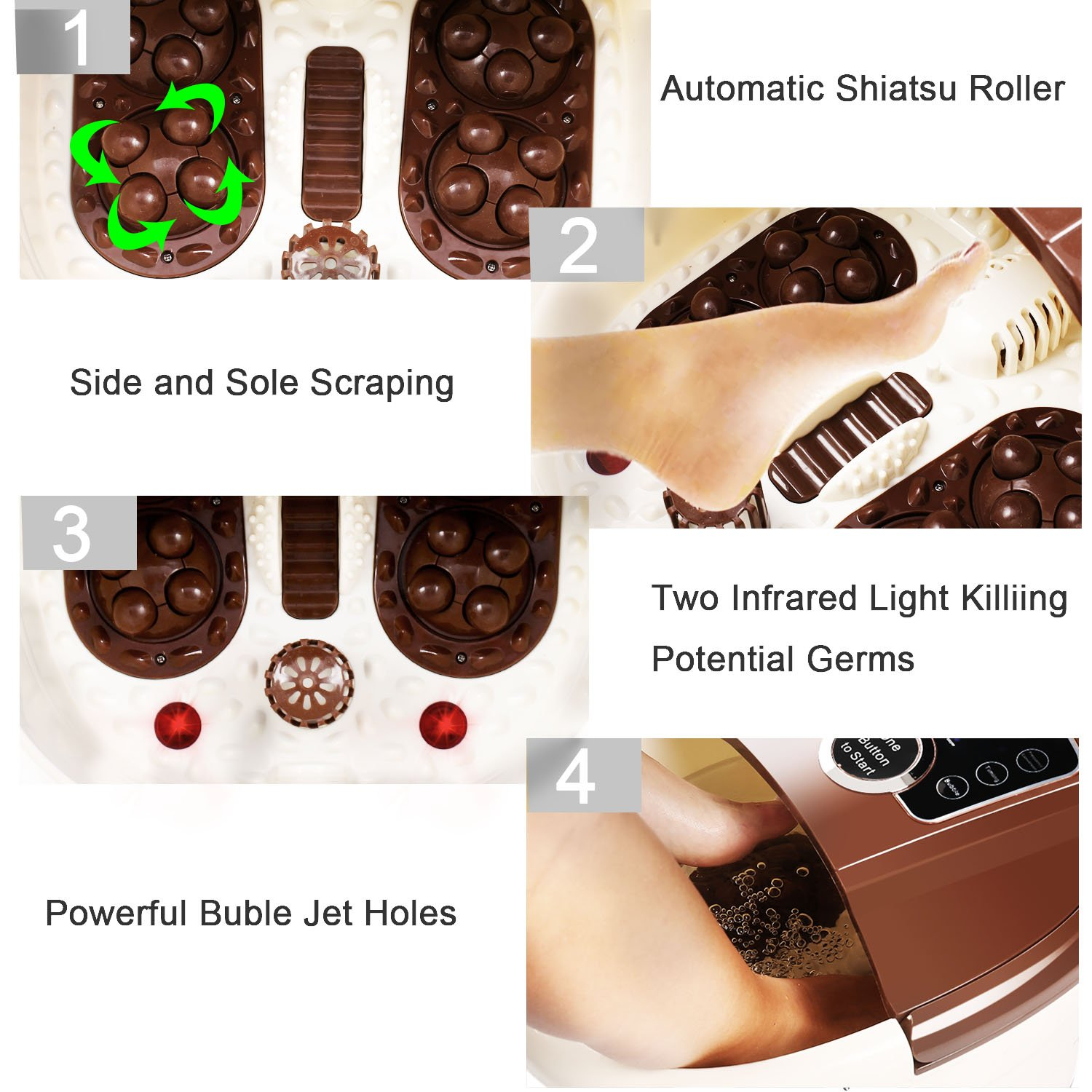 [ Best Gift !!! ] Guisee All in One Foot Spa Massager, Tai Chi Motorized Shiatsu Roller Massaging Acupuncture with O2 Bubbles,Digital Adjustable Temperature & Frequency Conversion on LED Display by Guisee (Image #5)