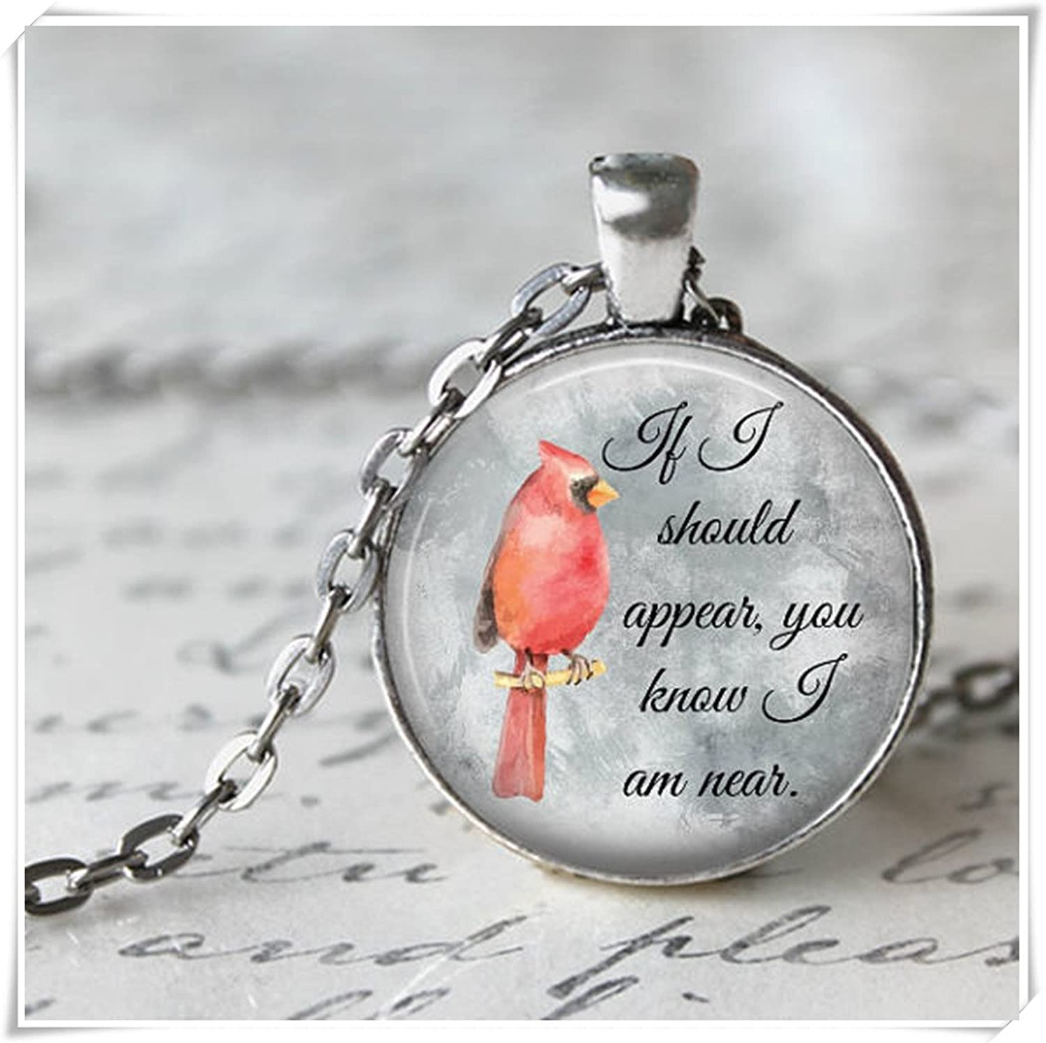 cardinal charm sterling silver necklace