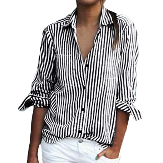 ad6cbb0f Mikey Store Women Summer Long Sleeve Striped Shirts Casual Button Down Tops  (Small, Gray