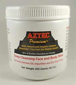 AZTEC PREMIUM | Indian Healing Clay 1 lb | Deep Pore Cleansing Face & Body Mask Powder | STERILIZED Without Radiation, Chemicals or Preservatives | 100% Natural & Organic Calcium Bentonite Clay