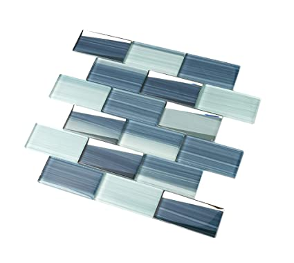 Glass Tile DR20 Caribbean Ocean Blue Gradient Lines, 2x4 ...