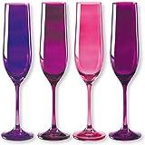 Bruno Evrard Flûtes à champagne en verre rose 19cl - Lot de 4 - KADOR