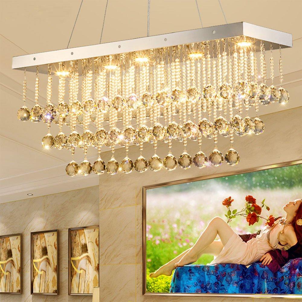 Huston Fan Crystal Chandelier Rectangular Ceiling Lamp LED Living Room Multi - Storey Simple Bar Lights Restaurant Household Decorative Chandeliers