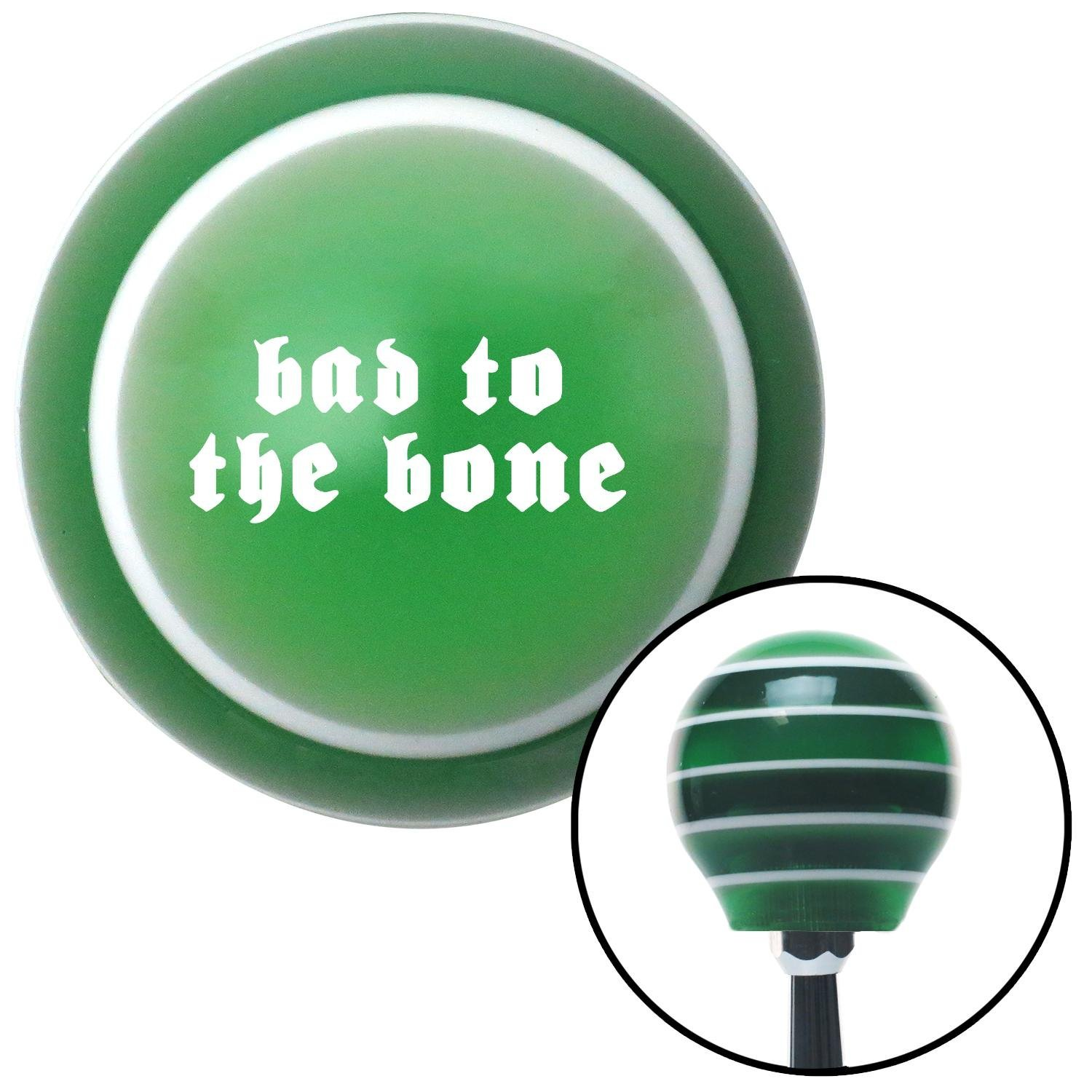 White Bad to The Bone American Shifter 129010 Green Stripe Shift Knob with M16 x 1.5 Insert