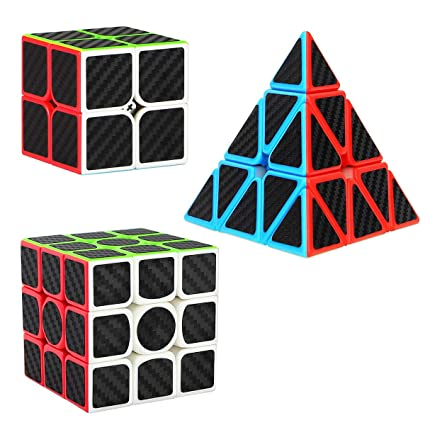 3b8a05120485 Dreampark Speed Cube Bundle, 2x2x2 3x3x3 Pyramid Cube Set Carbon Fiber  Sticker [3 Pack] Magic Puzzle Cube Toys for Kids and Adults