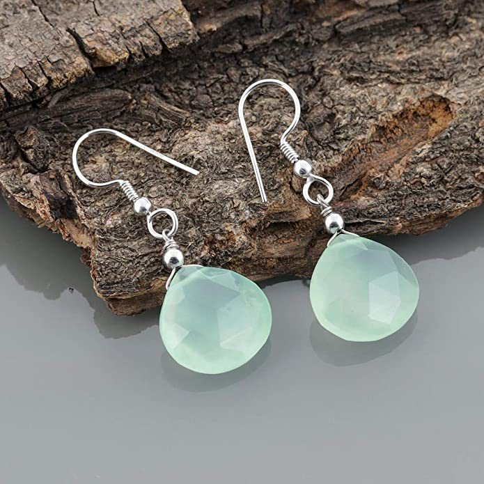 Aqua Leaf Charm and Crystal Earrings E176