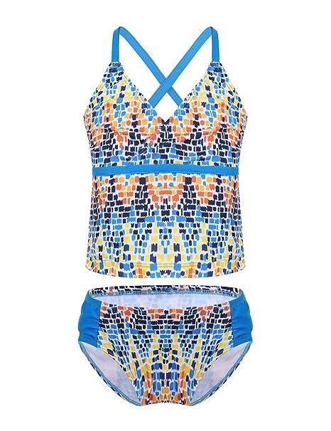 Mädchen Tankini Bikini Badeanzug Set Zweiteiler Schwimmanzug Strandwear Blau