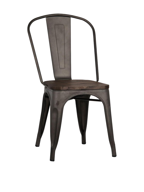 Lo+DeModa Terek Rusty Wood Set di 2 Sedia, Ferro/Olmo, Marrone Scuro, 55x46x7 cm Superstudio ANY034-187 ANY034-187_187