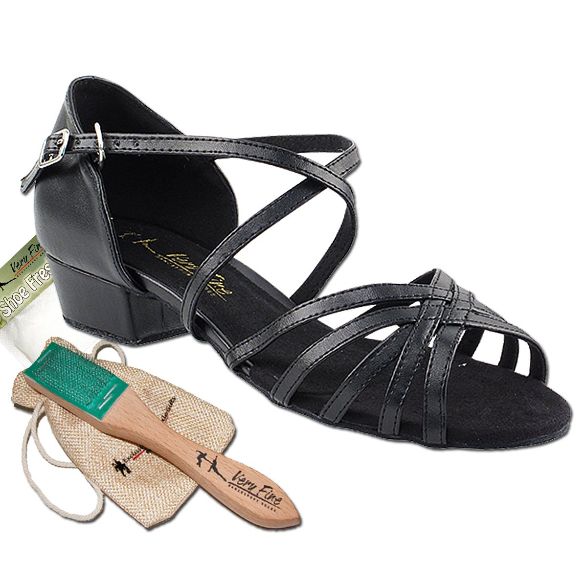 Women's Ballroom Dance Shoes Salsa Latin Practice Dance Shoes Black PU 1670FTEB Comfortable - Very Fine 1'' Heel 8 M US [Bundle of 5]