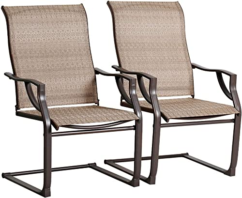 Bali Outdoors All-Weather Spring Motion Teslin Patio Dining Chairs Set of 2