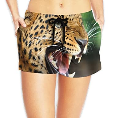 907b137af844 Image Unavailable. Image not available for. Color: Yongchuang Feng Leopard  Women's Cute Hot Pants Summer Casual Beach Shorts ...