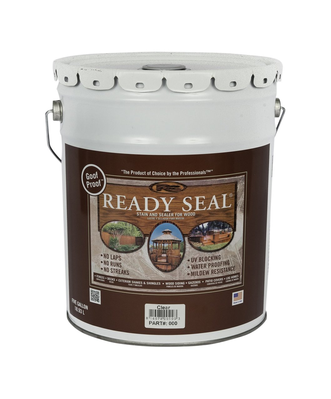 Ready Seal 500 Clear, 5-Gallon Exterior Wood Stain and Sealer, 5 Gallon,
