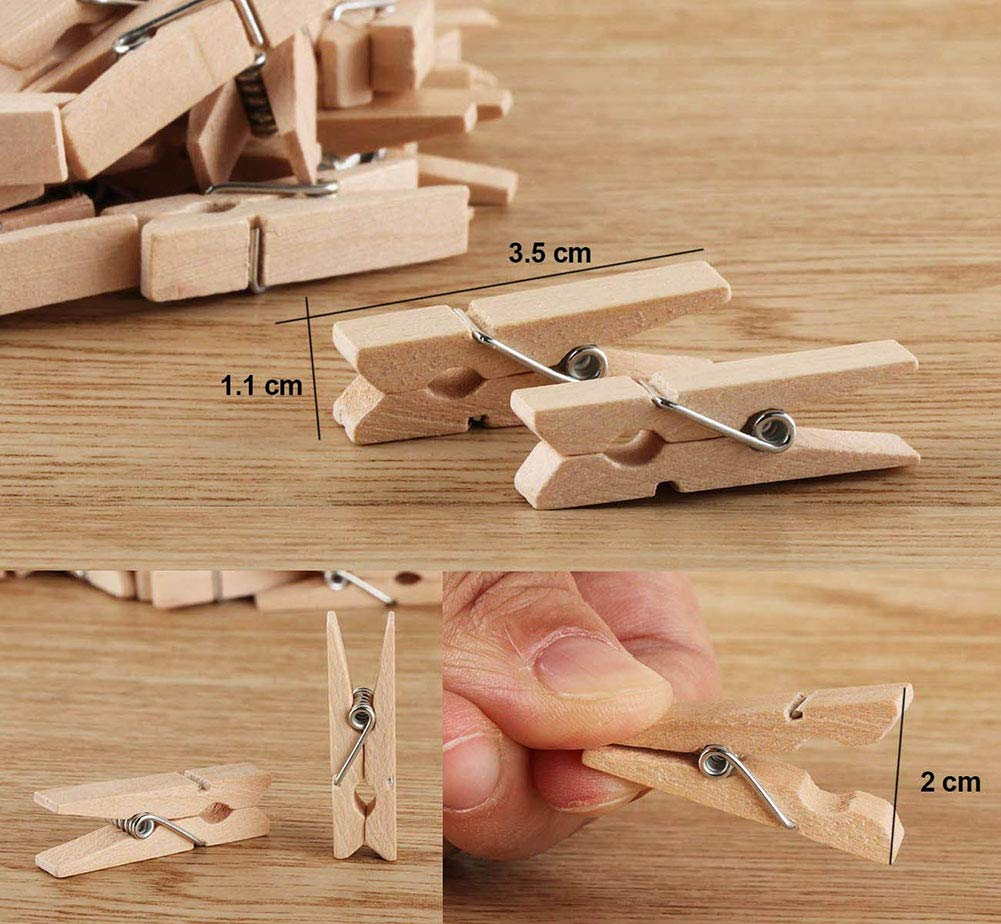 Mini Wooden Clothespins for Pictures 100 Bulk Small Natural Traditional Craft Clothespins with Twine String Gardening 328 Feet 1mm for Photos Hanging,Art Craft,Photo Display Citih509