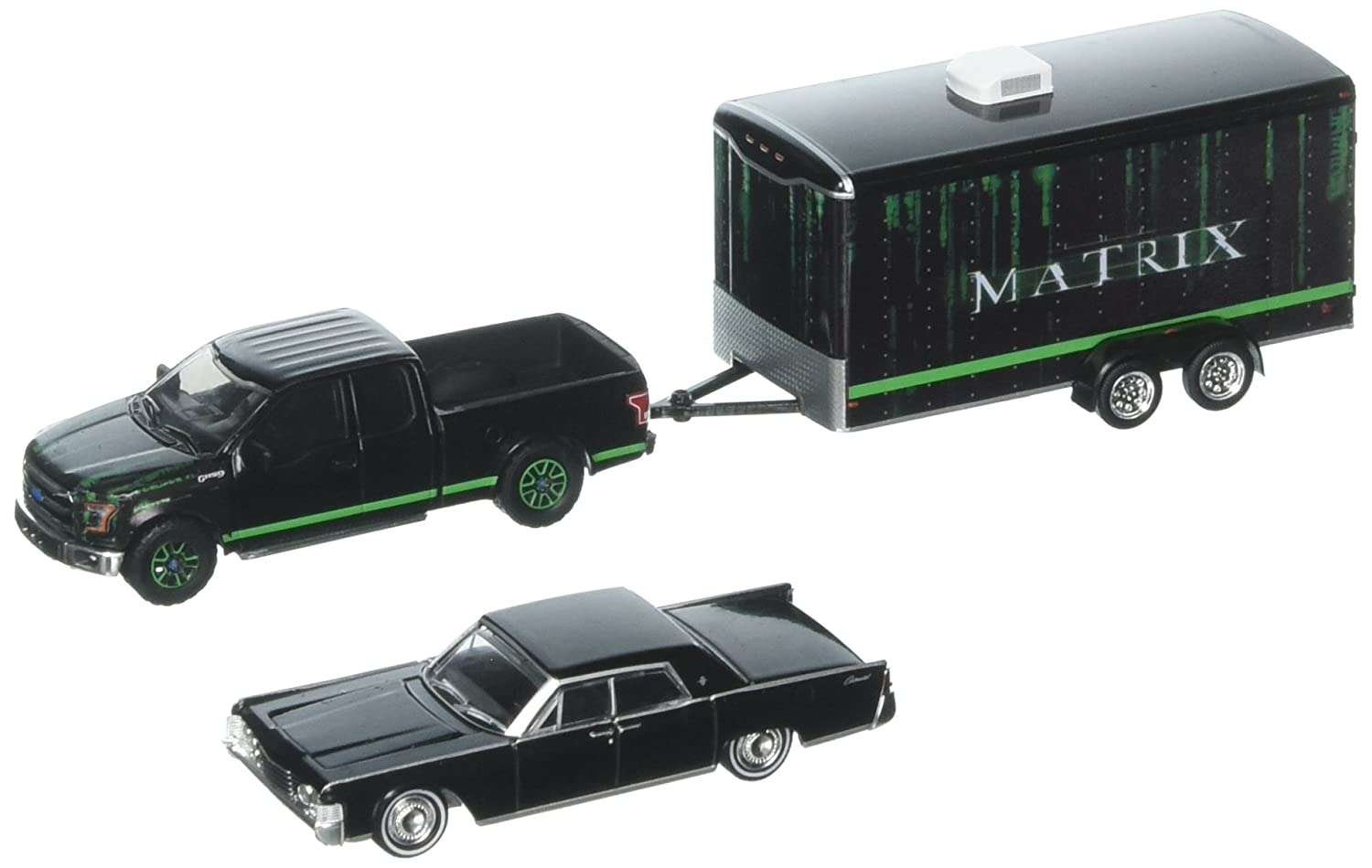 1 64 Hollywood Hitch Tow Series 4 The Matrix 2015 Ford F 150 1995 Lincoln Continental Enclosed Trailer 31040 B By Greenlight