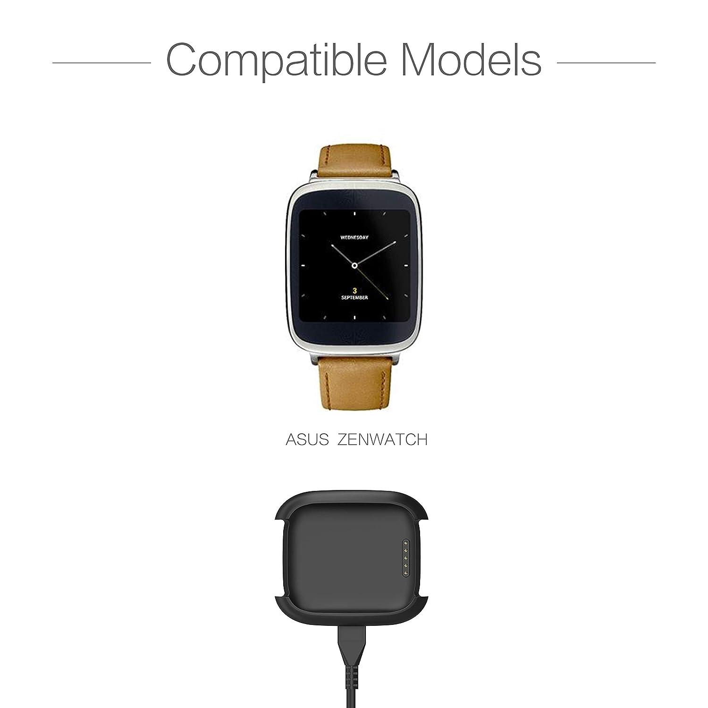 TUSITA Cargador para ASUS Zenwatch - Cable de carga USB 100cm pinza de la base - Reloj inteligente Accesorios