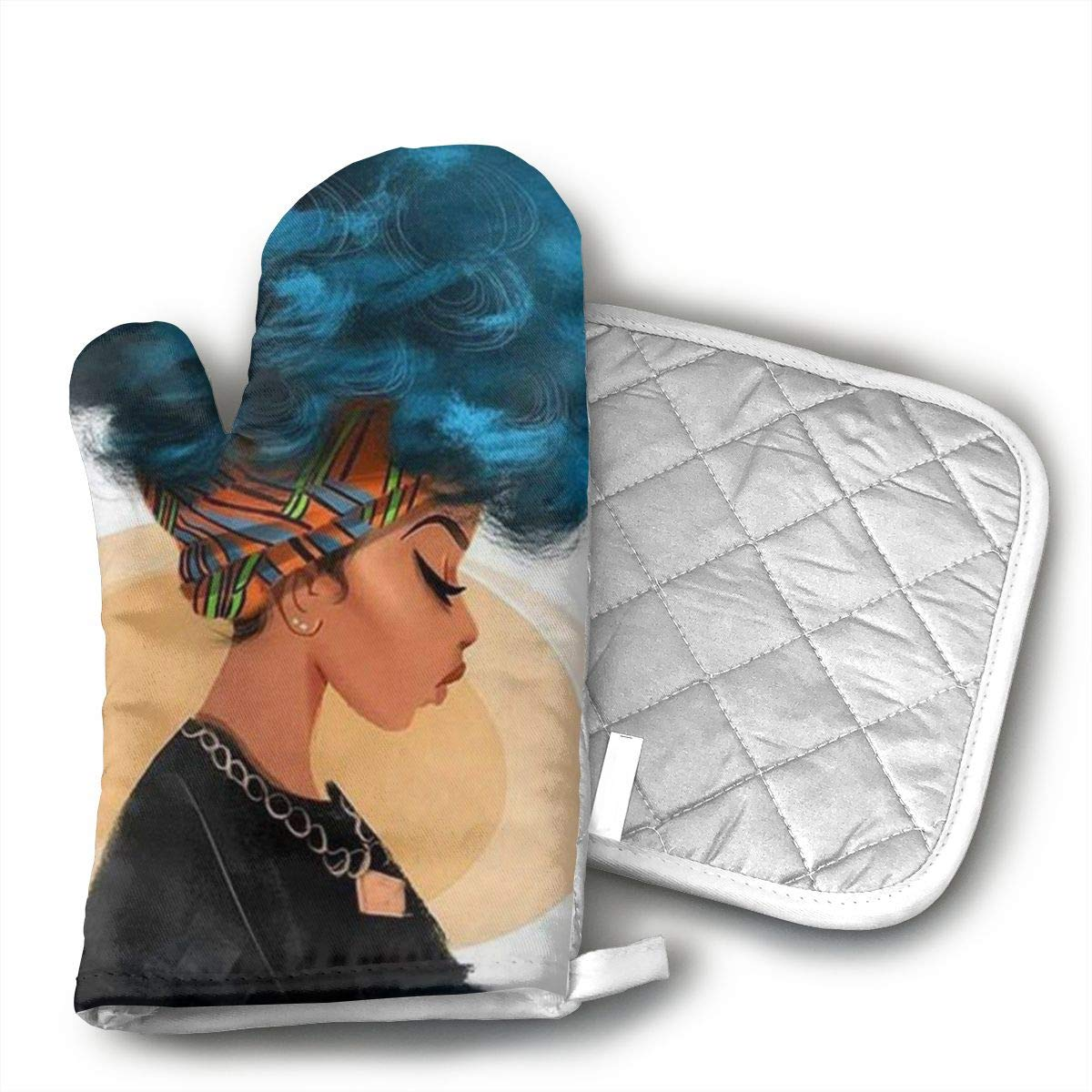 African American Black Women Oven Mitts and Pot Holders Kitchen Mitten Cooking Gloves,Cooking, Baking, BBQ.