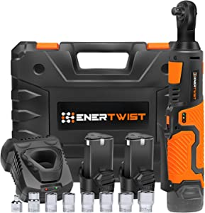 "Enertwist Cordless Electric Ratchet Wrench Set, Upgraded 3/8"" 12V Power Ratchet Tool Kit with 2.0Ah Lithium-Ion Batteries, Fast Charger, 7-Pieces 3/8 Inch Metric Sockets and 1/4"" Adaptor, ET-RW-12B"