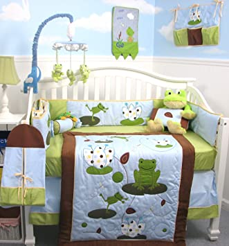 soho froggies party baby crib nursery bedding set 13 pcs included diaper bag with changing pad
