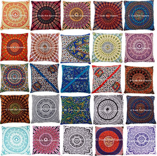Set Of 10 Mandala Cushion Cover, 26x26 Euro Sham Pillow Case, Large Square Outdoor Cushions, Indian Meditation Pillow Cover, Decorative Floor Pillows, Boho Throw Pillow Shams by Trade Star Exports
