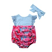 Big Little Sister Floral Matching Clothing Lace Ruffle Sleeve Romper Dress Outfit Clothes (6-12 Months, Little Sister Romper)