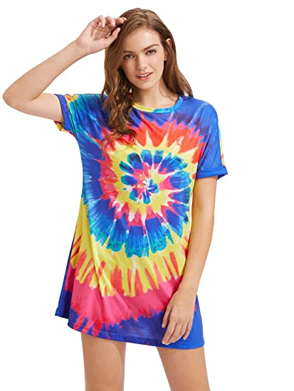 24dc2ed35c Image Unavailable. Image not available for. Color  Romwe Women s Tie Dye  Spiral Roll Sleeve Round Neck T-Shirt Short Dress ...