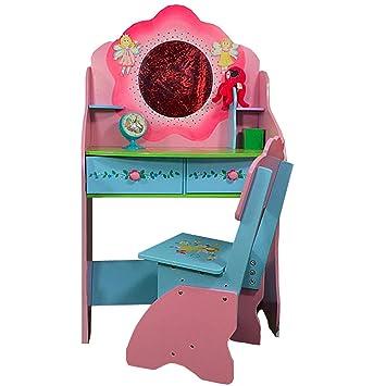Coiffeuse Bureau Chaise Fille Princesse Bois Rose Violet