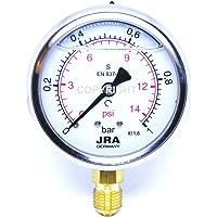 """JRA-Longlife Manómetro de glicerina 0-1 bar Conexión diámetro 63, inferior G1/4"""""""