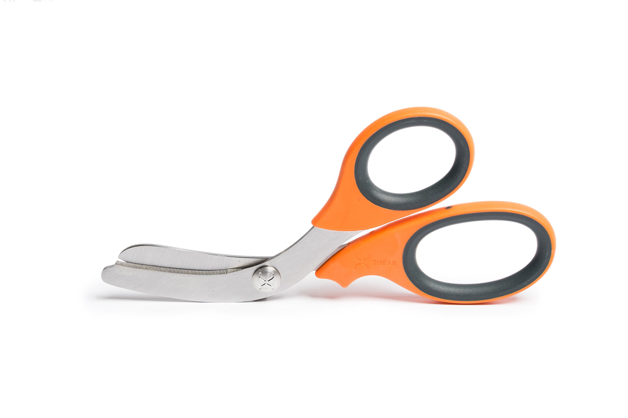 """XSHEAR 7.5"""" Extreme Duty Trauma Shears. Tough and Durable Medical Scissors for the Paramedic, EMT, Nurse or any Emergency Healthcare Provider - Orange/Gray"""