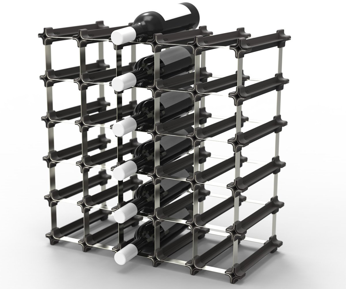 25 NOOK Wine Rack - Easy 2 Step Assembly - No Hardware Required - Capacity: 30 Bottles by Wine Racks America