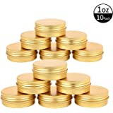 TMO Aluminum Metal Tin 1Oz 30G Round Tin Cans Bulk Storage Jars Container Empty Sample Containers Screw Top Aluminum Tin Jars(Gold,10 Pcs)