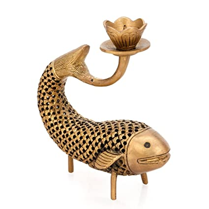 Buy Aone India Fish Candle Stand Brass Sculpture Indian Decorative