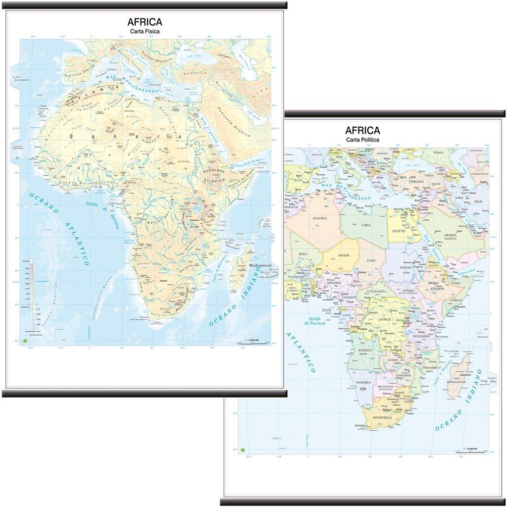 Africa Carta Murale Scolastica Bifacciale [Fisica/Politica] [97x134 cm] Belletti