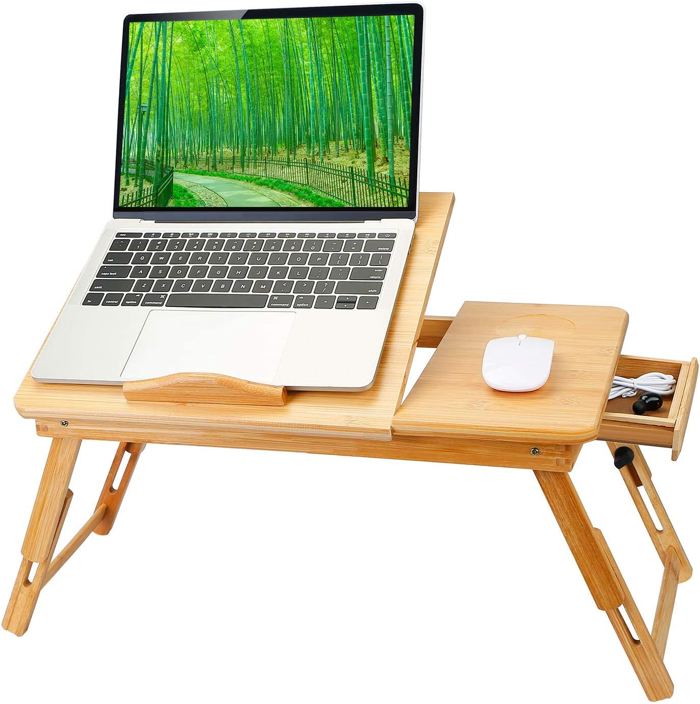 Bamboo Laptop Desk, Moclever Foldable Breakfast Tray with Drawer, Multi-Position Adjustable Tilt Surface Laptop Stand for Bed, Work,Study,Reading, Eating Food