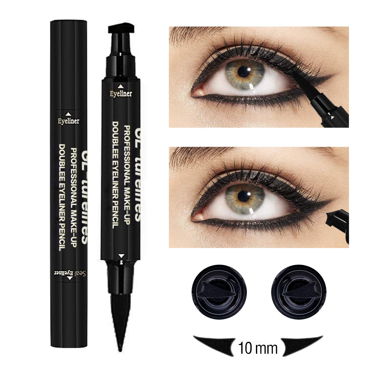 Amazon com turelifes eyeliner stamp kit easy to makeup eye wing liners 3 in 1 drawing eyeliner tool includes wing stamp angled brush eyeliner ink 2