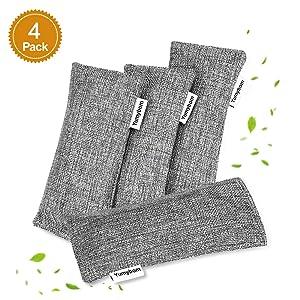 Yumybom Natural Activated Bamboo Charcoal Bags 4 Pcak, Home Air Purifying Bag, Car Odor Eliminator, Shoe Deodorizer, Pet Area Air Freshener, Closets Odor Absorber