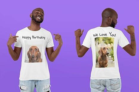 Tee Miracle Camisetas Personalizadas de 2 Lados - Diseña tu Propia Camisa - Impresión en la Parte Delantera y Trasera en Camisas - Añade tu Imagen con ...
