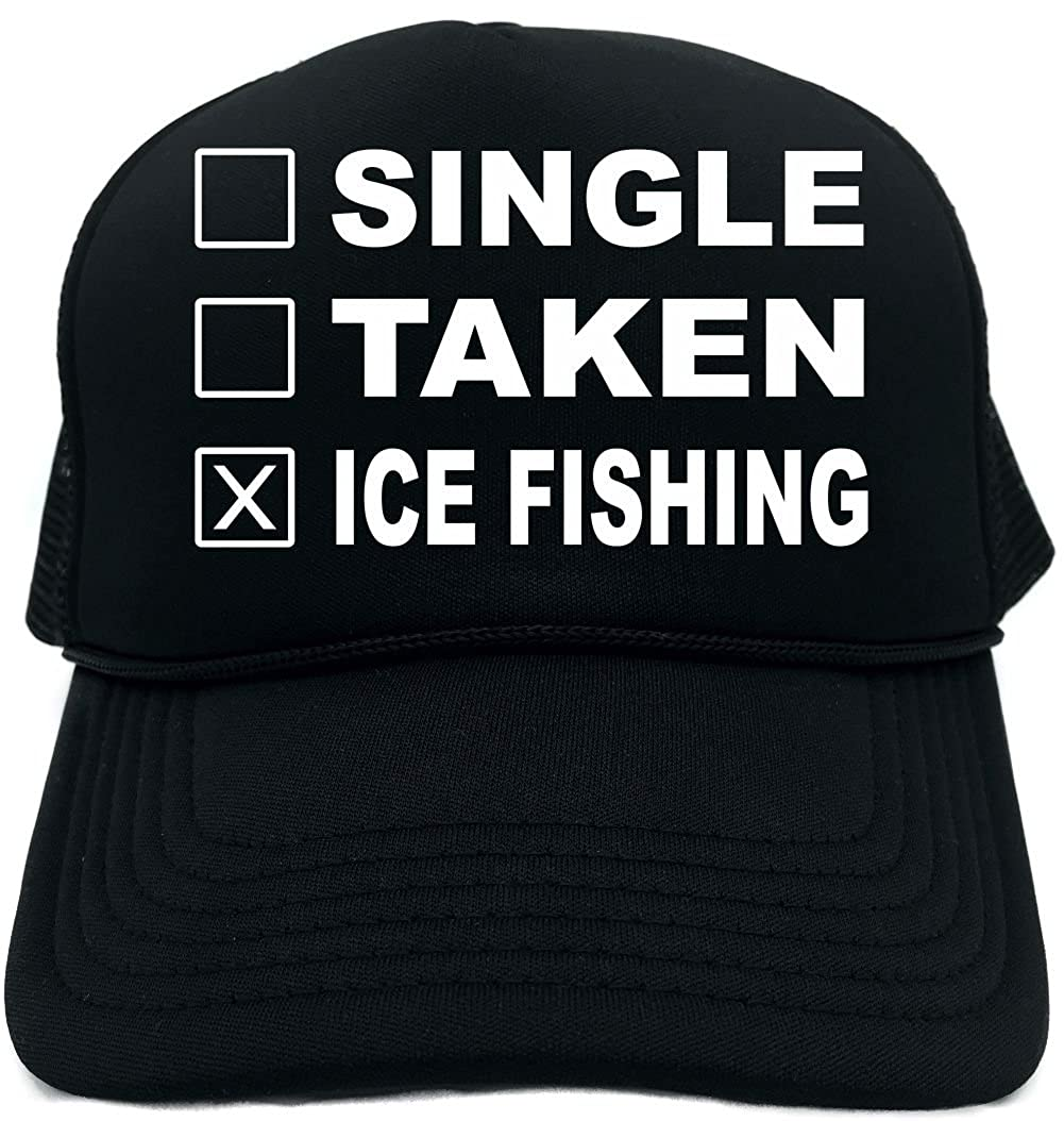 Amazon.com  Funny Trucker Hat (Single Taken Ice Fishing (Sports) Unisex  Adult Foam Cap  Clothing c4248d370284