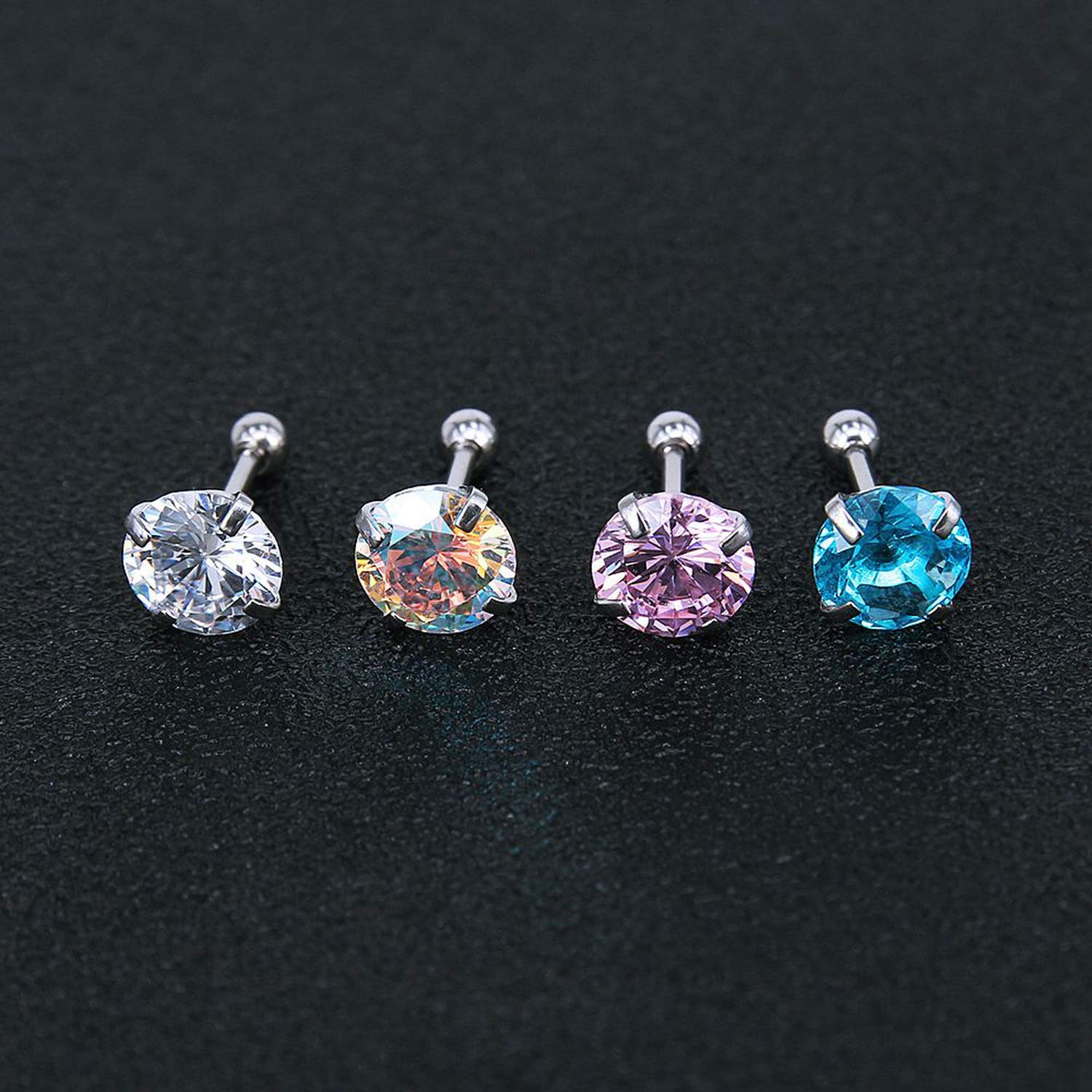 Tiny Round Crystal Studs Earrings Screw Ball Stainless Steel Female Earrings Mini,Pink Round,8mm