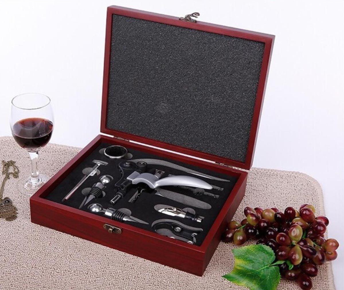 vertedor term/ómetro/ sacacorchos a Conejo /Caja Accesorios Vino de Elegantissima caja de madera/ Ducomi DOCG/ sacacorchos /regalo /unidades 10/piezas Color tambi/én incluye abrebotellas