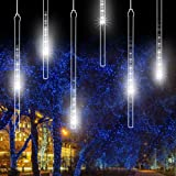 Amazon Price History for:LED Meteor Shower Rain Lights, EECOO Drop/Icicle Snow Falling Raindrop String Lights with 11.8in 30cm 8 Tube 144 LEDs Waterproof Cascading Lights for Wedding,Party, Home,Garden (Cool White,US plug)