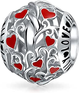 Red Silver Round I Love You Word Filigree Red Hearts Charm Bead For Women Teen .925 Sterling Silver Fits European Charm Bracelet