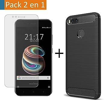 Pack 2 En 1 Funda Gel Tipo Carbono + Protector Cristal Templado para Xiaomi Mi 5X / Mi A1: Amazon.es: Electrónica
