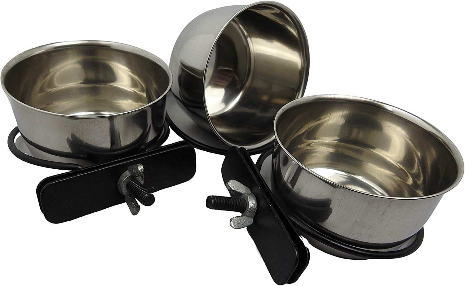 Clamp Style Stainless Steel 5 oz Hanging pet Bowl / Cup / Dish for Food and Water (3 Pack)