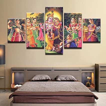 5366deffded Image Unavailable. Image not available for. Color  Lord Krishna Painting Canvas  Printed Wall Art Poster 5 Pieces   5 Panel ...