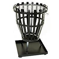 Feuerkorb klein schwarz Fire Basket ✔ rund ✔ Grillen mit Holzkohle