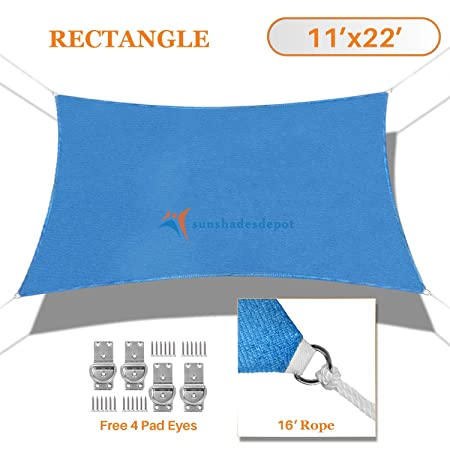 TANG Sunshades Depot 11 x22 Sun Shade Sail Rectangle Permeable Canopy Blue Custom Commercial Standard 180 GSM HDPE
