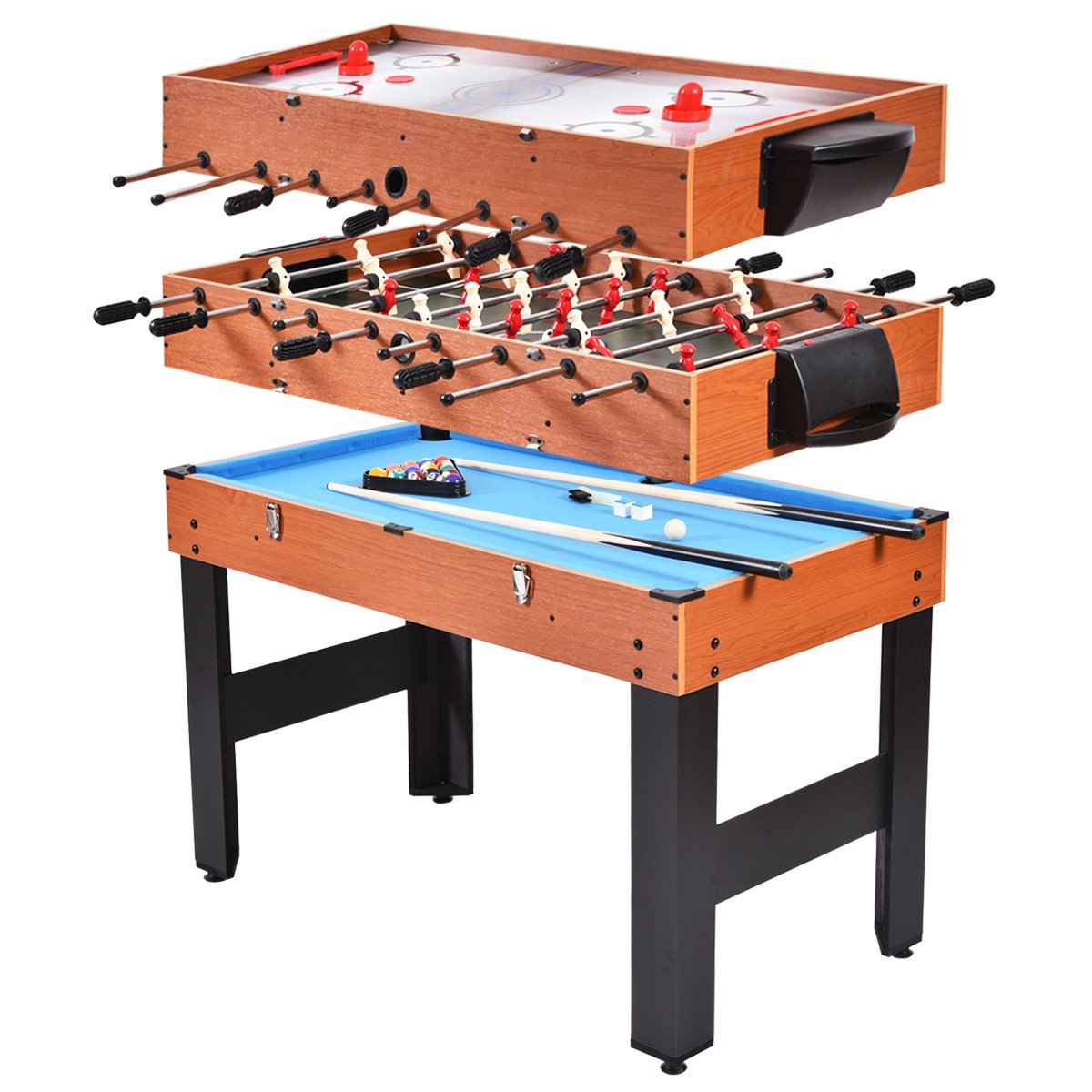 Giantex 48'' 3-in-1 Multi Game Table, with Soccer Table, Hockey Table, Billiards Table, Entertainment Combination Game Table for Home, Arcade, Game Rooms(Wood Color) by Giantex