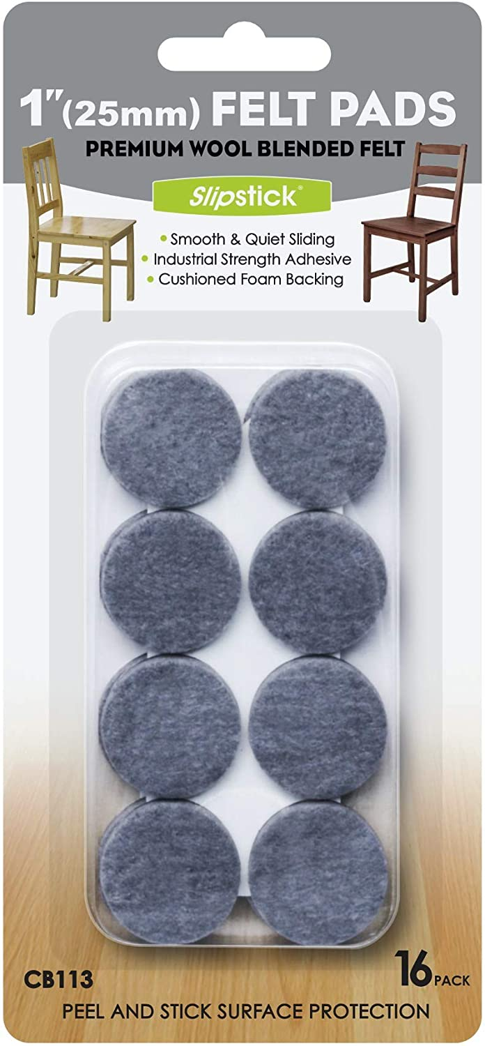 Slipstick Premium Wool Felt Furniture Feet Pads/Chair Leg Floor Protectors (1 Inch Round) Includes 16 Wool Blended Felt Feet Pads with Peel and Stick Adhesive, Gray, CB113