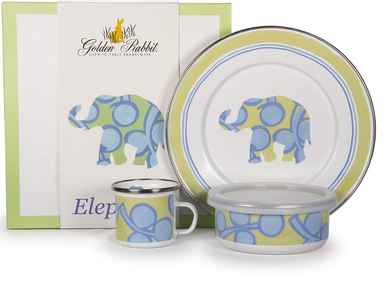 Golden Rabbit Enamelware Elephant Pattern Child Dinner Set