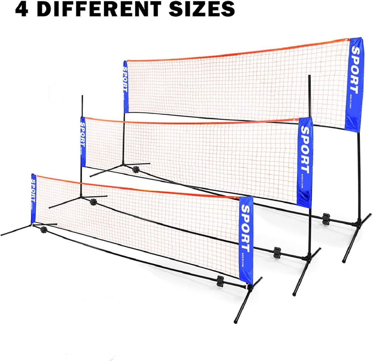 Amazon Com Yakita Excellent Quality Badminton Net 4 Different Sizes Portable Net Volleyball Tennis Adjustable Height Easy Setup Badminton Set With Carry Bag For Outdoor Indoor Court Backyard Beach Sports Outdoors